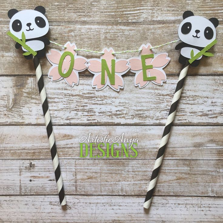 Panda Birthday Age Cake Bunting Topper - Smash Cake - Panda Bear Party - Black White Pink Green - Pandamonium Decorations - Cherry Blossom by ArtisticAnyaDesigns on Etsy