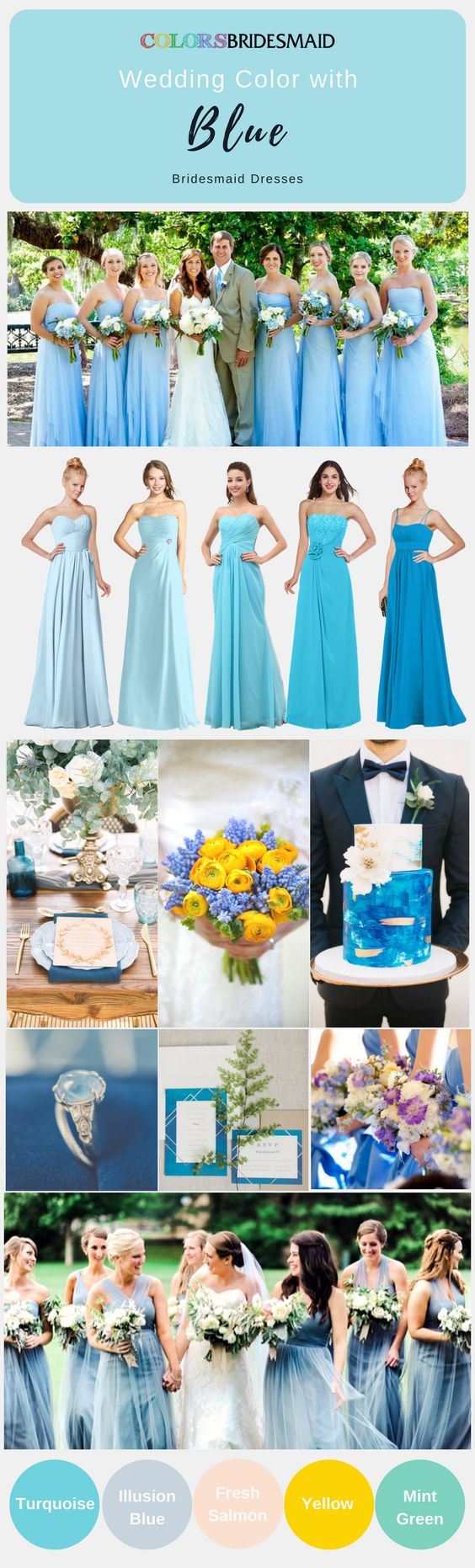 Chiffon long bridesmaid dresses in blue hue(ice blue, aqua, turquoise, cornflower blue etc) with A-line strapless styles are highly welcomed. All sizes including plus size of these cheap bridesmaid dresses are available.