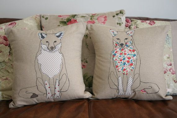 Applique Mr and Mrs Fox Cushions