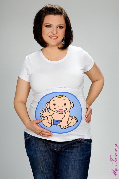 T-shirt ciążowy Chłopiec dekolt okrągły