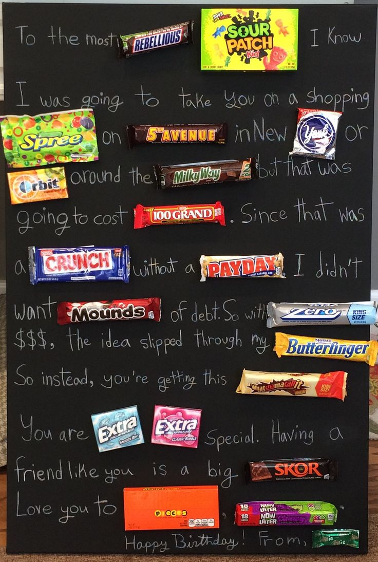 Teenage candy board. White pencil on black painted canvas. Great Birthday gift for teen!