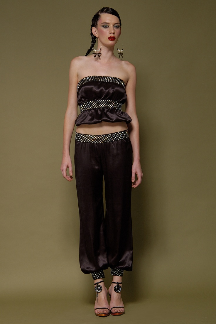My Model Wears 'Lotus' 100% Silk Charmeuse Bandeau & Harem Pant Encrusted With Thousands Of Swarovski Crystals On Elastic Bands...