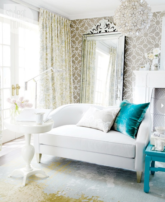 Glamorous White, Gold And Teal Room