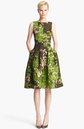 Oscar de la Renta Print Silk & Wool Jacquard Dress available at #Nordstrom