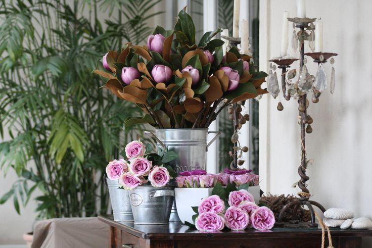 Magnolios artificiales rosados