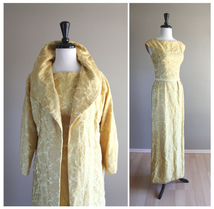 Gorgeous 1960s Vintage Yellow Floral Long Dress w/ Opera Swing Coat / Jacquard Burnout Damask / Bridesmaid Wedding Formal / 1950s Mad Men by TheMermaidTattoo on Etsy https://www.etsy.com/listing/210565907/gorgeous-1960s-vintage-yellow-floral