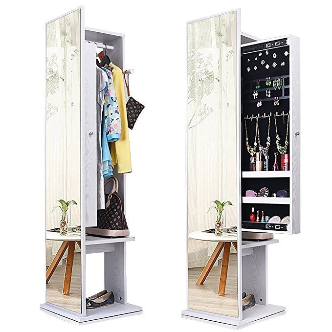 b62d0c79b NEX 360 Degree Rotatable Jewelry Cabinet, Multipurpose Standing Jewelry  Armoire With Full Length Mirror, Sliding Jewelry Cabinet Organizer, Garment  Rack & 4 ...