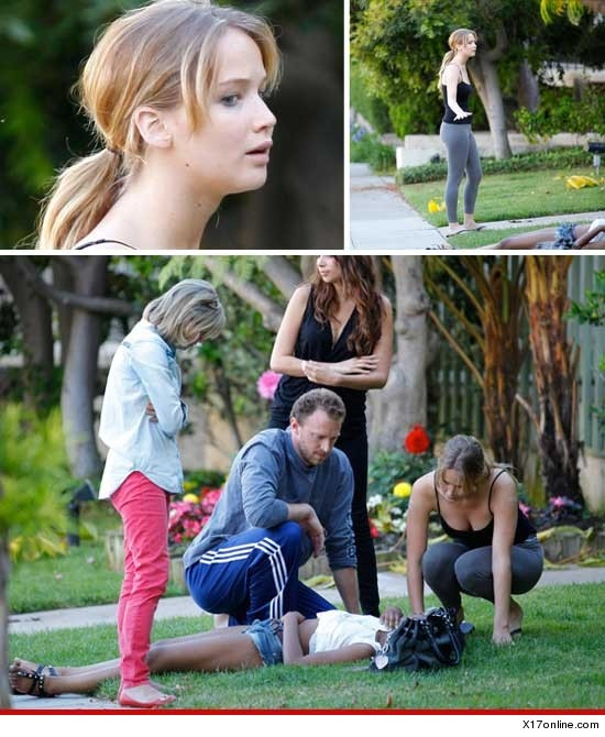Jennifer Lawrence - X17 EXCLUSIVE - Jennifer Lawrence Comes To The Rescue Of Teenage Girl Who Collapses On Her Lawn
