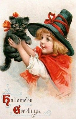 bumble button: Charming cute Victorian and Edwardian Witches and Black Cats free images from antique postcards