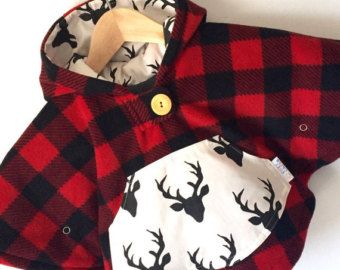 Mini Fleece Cape Poncho (Lumberjack Plaid) || Baby Toddler || Car Seat Coat