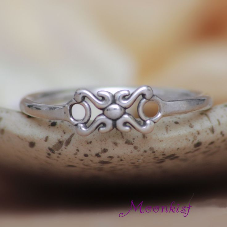 Silver Hugs and Kisses Component Unique Promise Ring - Simple Silver Love Bridal Ring - Romantic Silver Bridesmaid Ring - Dainty Silver Ring