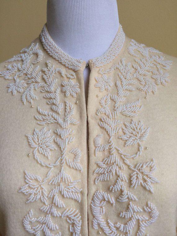 Lovely Ivory Vintage Beaded Sweater by MonroeSurplus on Etsy - $45