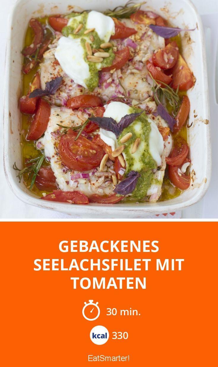 Gebackenes Seelachsfilet mit Tomaten - smarter - Kalorien: 330 Kcal - Zeit: 30 Min. | eatsmarter.de