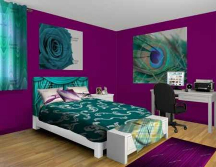 Living room teal and purple lets paint the home for Bedroom ideas with teal walls