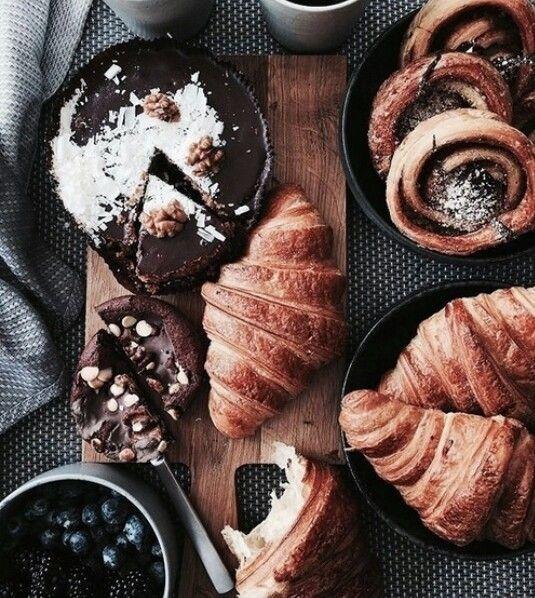 Weekend breakfast for one. Pastry heaven.