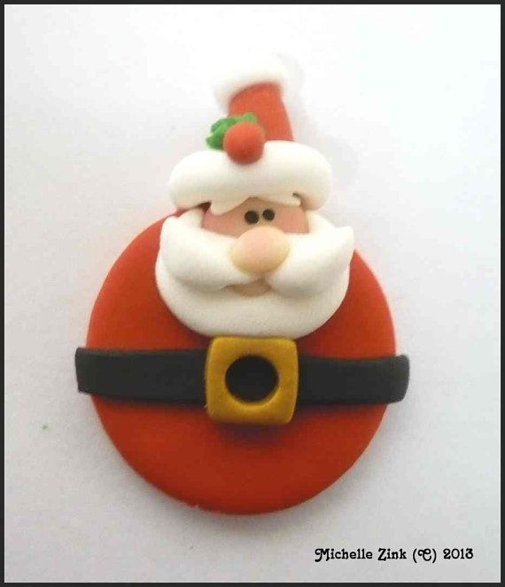 Polymer Clay Pendant Charm Bead Round Santa by michellesclaybeads, $3.00