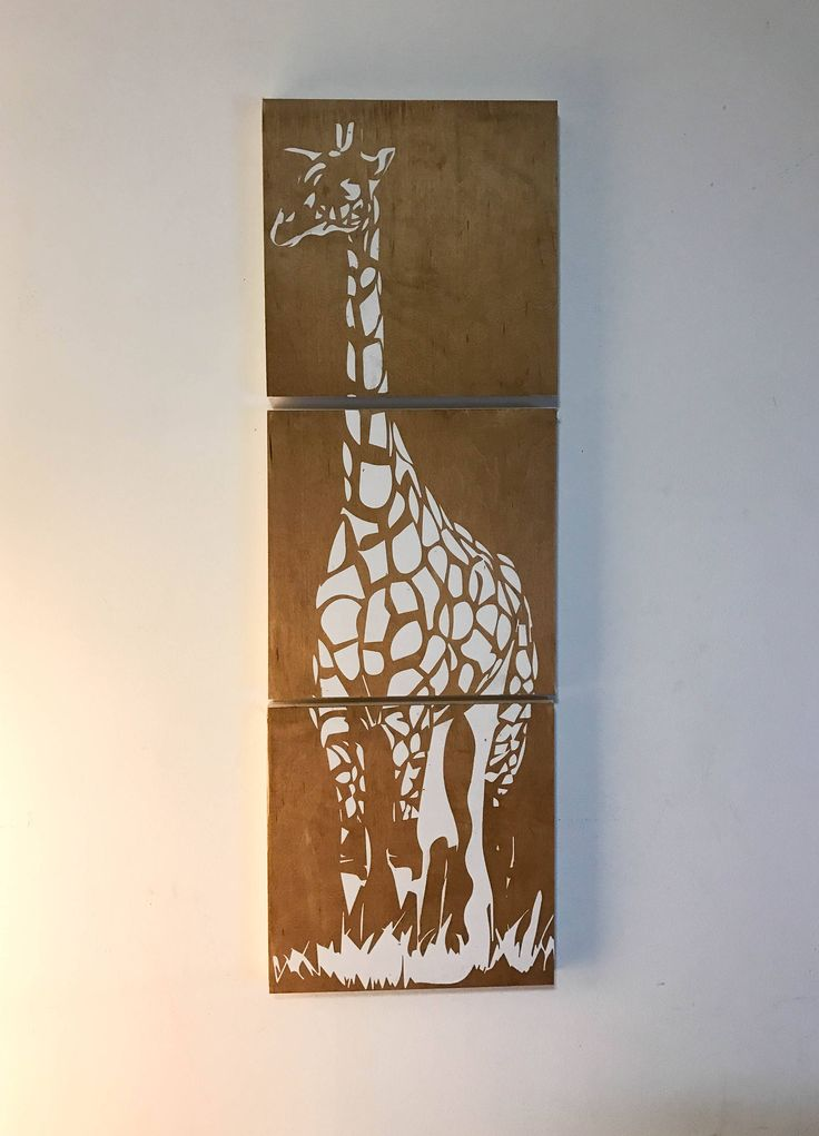 12 x 36 inch girafe wooden print by CreationsSauvages on Etsy