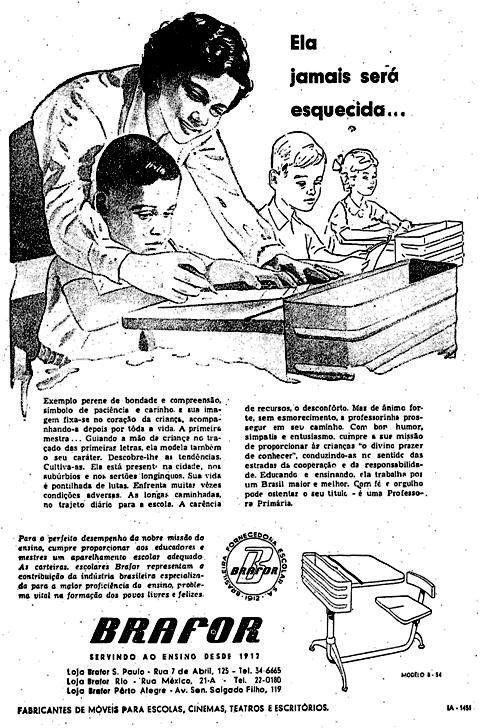 Propaganda de móveis escolares Brafor apresentado em 1955
