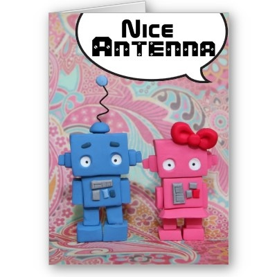 Nerd wedding Cake Topper  Robots in Love Greeting Cards by artist Christina Patterson from www.iDoCakeToppers.com i_Do_Cake_Toppers