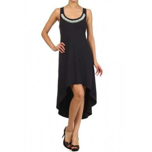 Hi-lo tank dress with pearl embellishment on chest and a racer back. Dress has a loose fit