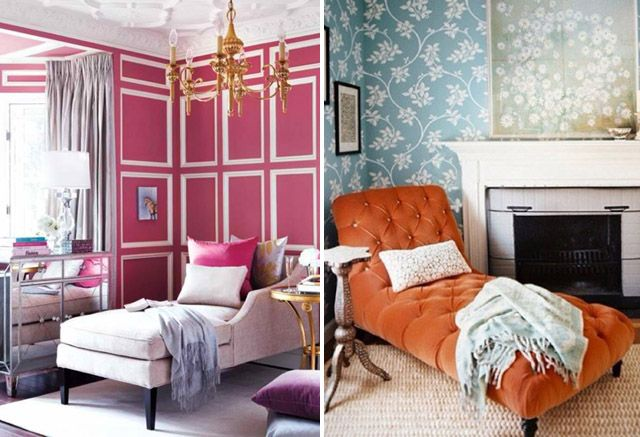 chaise ♥: Decor, Chaise Lounges, Design Interiors, Lounger, Pink Wall, Chase, Color Orange