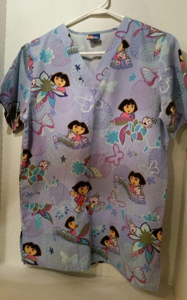 Dora the Explorer Medical Nurse XS Scrub Top Nick Jr Boots Adorable Butterfly SS | Clothing, Shoes & Accessories, Uniforms & Work Clothing, Scrubs | eBay!