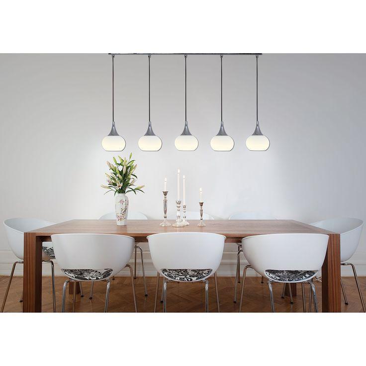 LED-Pendelleuchte - Metall/Glas - Silber - 5-flammig