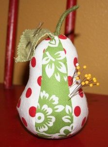 Pear pincushion tutorial.  Maybe would also be a cute Christmas ornament?