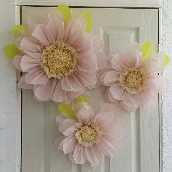 Set of 3x 45cm & 28cm Light pink Tissue Paper Flowers (pom-pom) Wedding/Birthday/Centerpiece