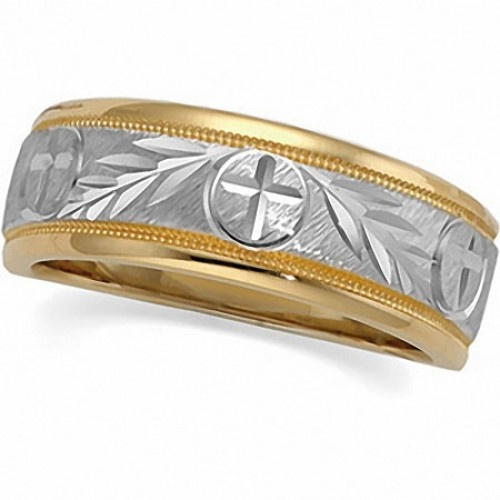tapered two tone circle and cross wedding band 60742 30 day return policy christian weddingsring fingerthe - Christian Wedding Rings