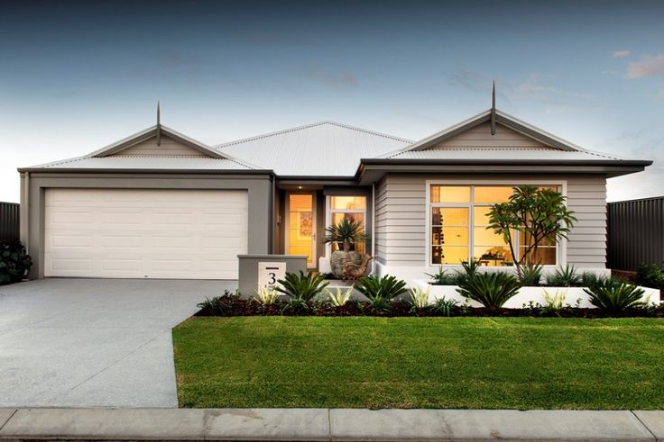 Like the weatherboard feature front elevations single for Home and land design