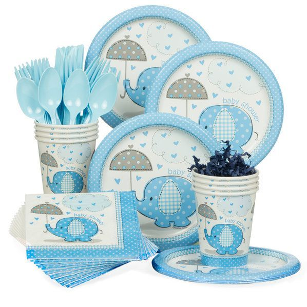 Check out Umbrellaphants Blue Baby Shower Standard Tableware Kit (Serves 8) - Bargain Themed Tableware from Wholesale Party Supplies