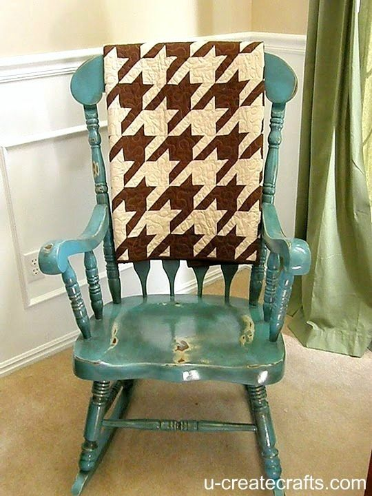 Wooden rocking chair with a distressed look in turquoise {Valspar Mediterranean spray paint}