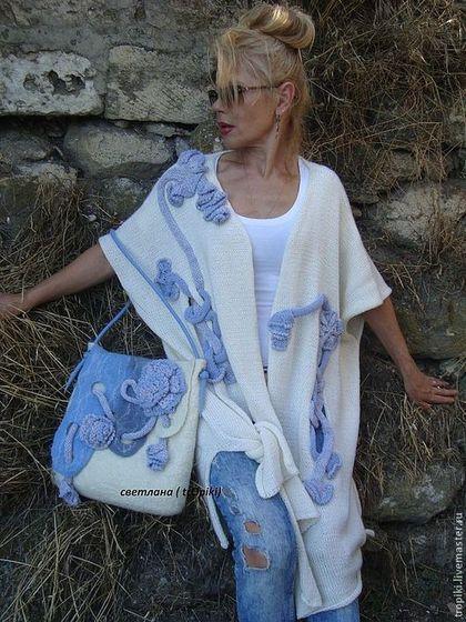 """Кофты и свитера ручной работы. Ярмарка Мастеров - ручная работа. Купить """"Фанагория """"авторский  вязаный кардиган. Handmade. Белый"""