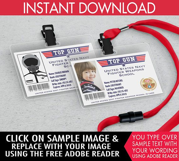 ♥´¨*) ¸.·´¸.·*´¨) ¸.·*¨) (¸.·´INSTANTLY DOWNLOAD these printable FIGHTER PILOT ID BADGES / TOP GUN ID BADGES with editable text... PLUS... Click & Replace with your Photo or Avatar. Then print & create as many times as you like.  ★★ NO physical item will be shipped! This listing is