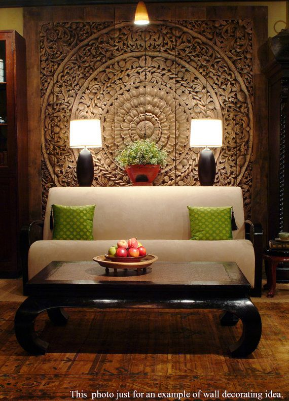 Large Carved Wooden Panel. Balinese Floral Wood by SiamSawadee