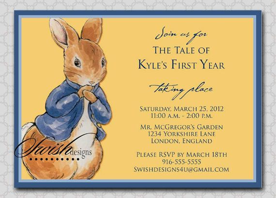 Peter Rabbit Birthday invitation  First Birthday by SwishDesigns, $15.00