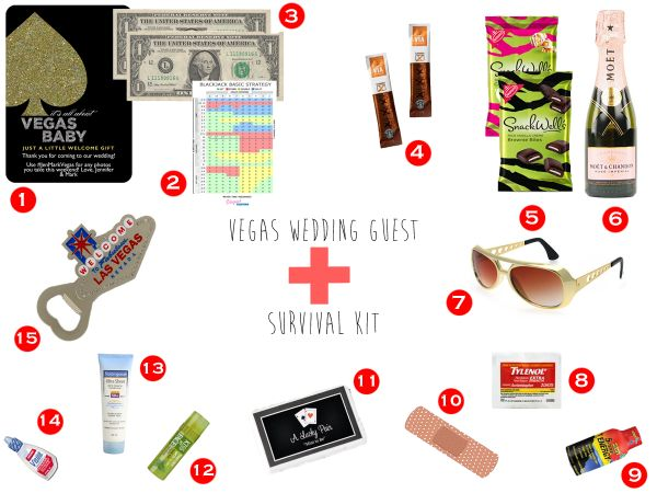 Destination Wedding Welcome Kit or Vegas Survival Kit for your wedding guests. Snacks, souvenirs, Bandaids, energy drinks and more! For full pricing and item descriptions, click through.