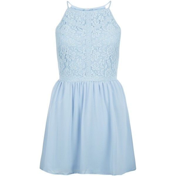 New Look Teens Pale Blue Floral Print Lace Panel Dress ($26) ❤ liked on Polyvore featuring dresses, pale blue, blue mini dress, floral print dress, mini dress, night out dresses and floral dresses