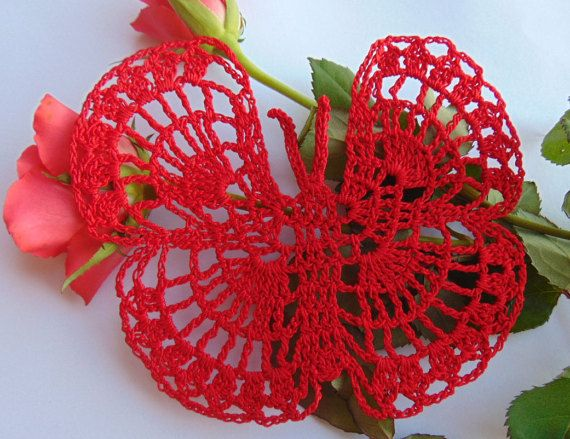 Small Crochet Red Butterfly Red Papillon Spinnaker by MaddaKnits