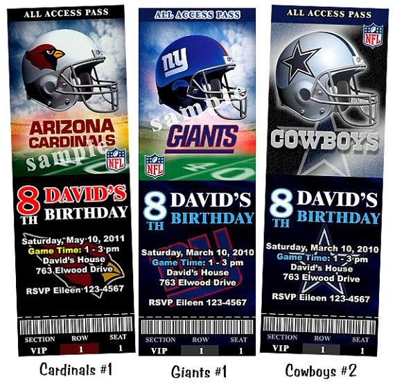 Football NFL Cowboys Saints Cardinals Giants by FancyInvites, $10.99