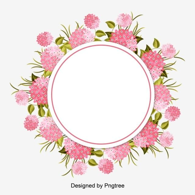 A Circle Around The Flowers Pink Green Leaves Leaves Vector Circle Vector Green Vector Vector Pink Vector Fr Wreath Drawing Pink Watercolor Flower Flower Frame