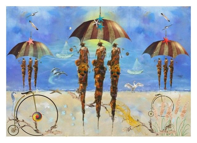 Beach by kondora on Polyvore featuring art