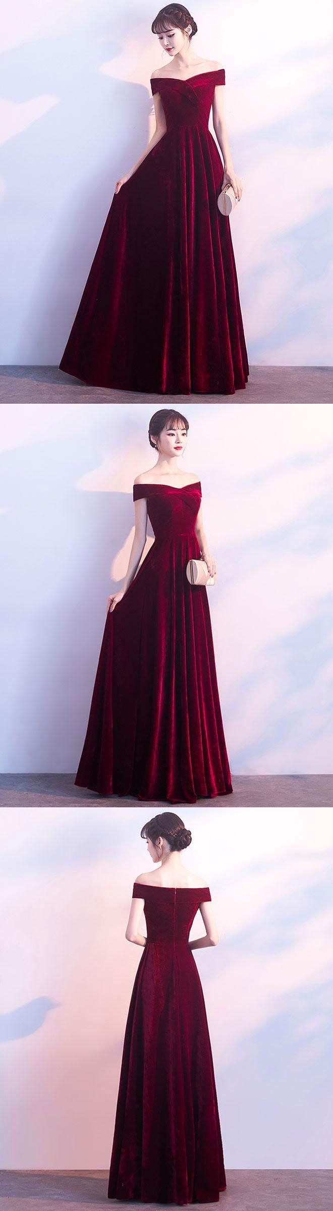 Burgundy v neck velvet long prom dress, evening dress