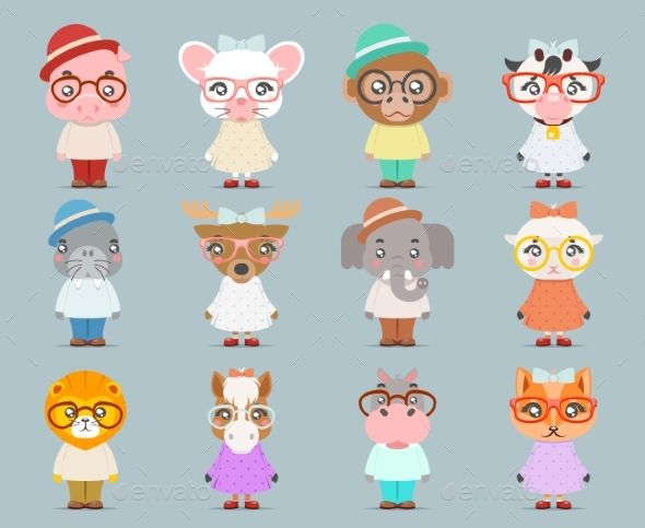 Geek Hipster Animal Boy Girl Cubs Mascot