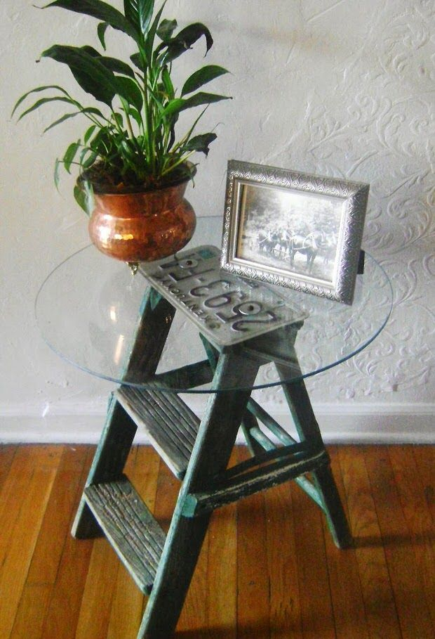 Step ladder side table from Do It Yourself Stunning Side Tables compiled by Decorating Your Small Space