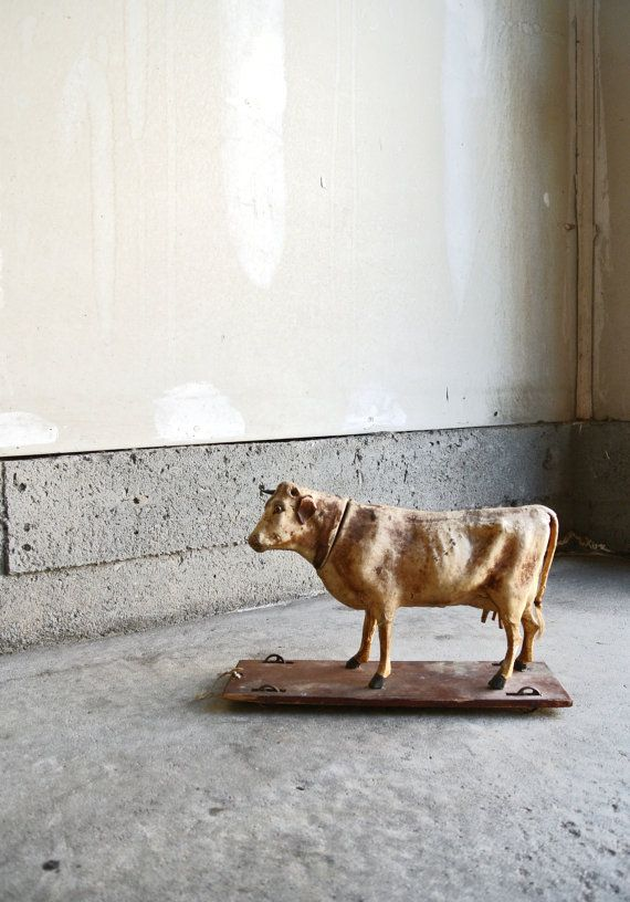 Late 1800s Child's Pull Toy  Antique Cow Toy  by ThEeRabbitHole