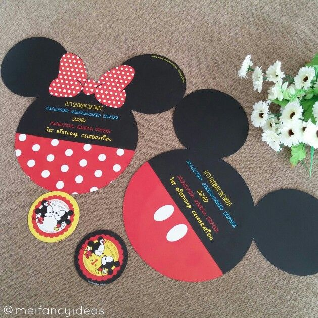 Mickey and Minnie Mouse Tablesetting  Placemat and Glass Coaster   Follow IG. @meifancyideas to see more portfolios