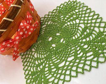 Green square crochet doily, green crochet doily