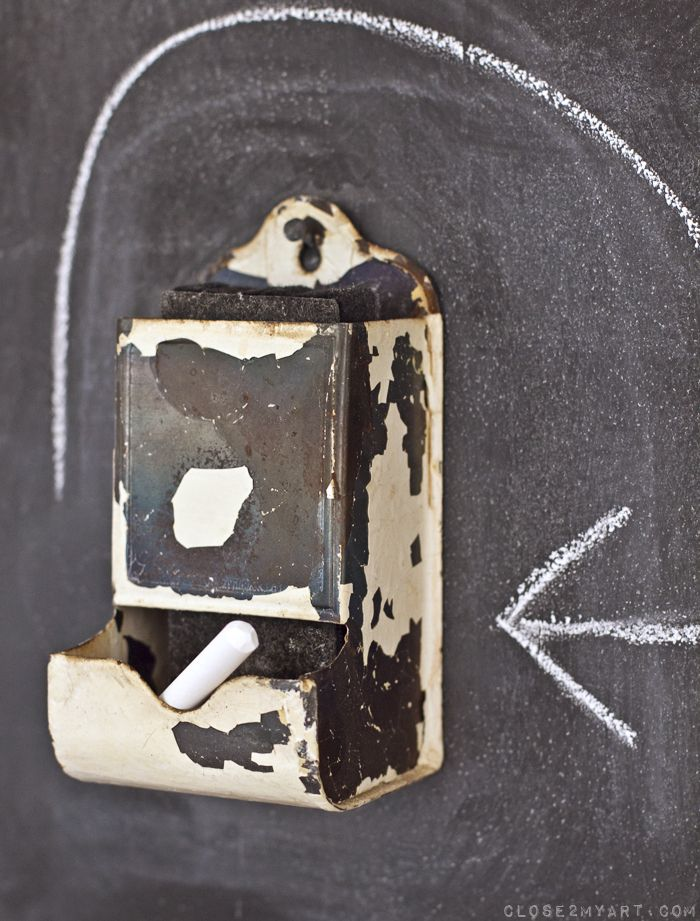 chalkboard wall chalk holder decor made from old match safe.  Perfect!  I am totally gonna do this!
